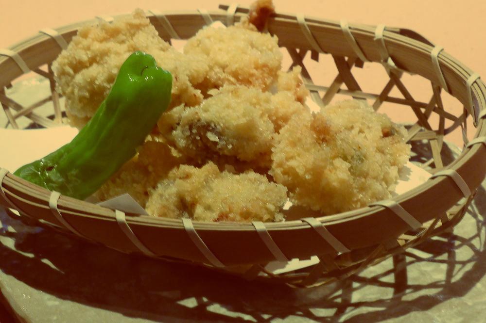 牡蠣のアラレ揚げ